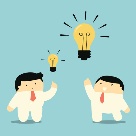 Businessman showing bigger and brighter lightbulb, representing to getting bigger idea and thought   Vector