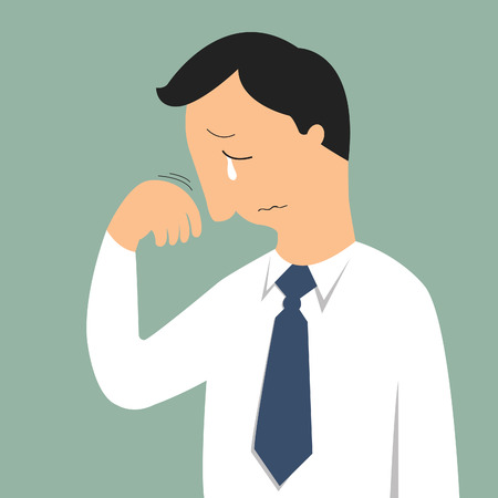 Portrait of crying businessman in sad feeling and emotional concept Vector