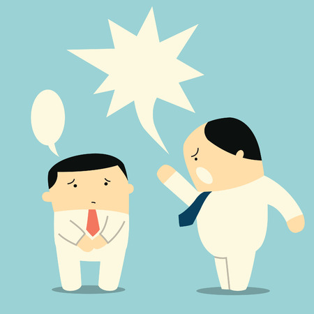 rude: Angry boss or manager yelling at his worker or employee , You can change or write your own design or text in speech bubbles   Illustration