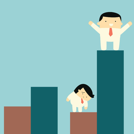 looser: Happy businessman standing and raising hands on the top of high statistics graph, while competitor feel sad on his falling down statistics    Illustration