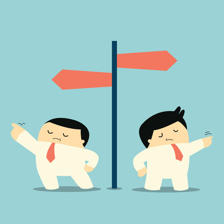 insist: Two businessman thinking in different ways, insist in his own individual idea, and pointing to different direction. Think different concept.
