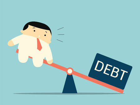 debt: Scale between businessman and debt burden, which debt gain advantage or havier than man. Business concept in debt burden.