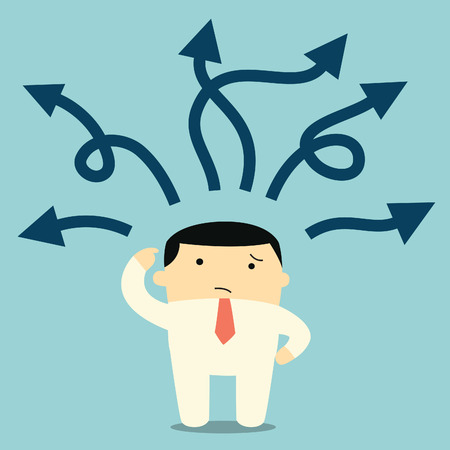 confused man: Confused businessman standing and thinking with many arrow pointing into different directions.