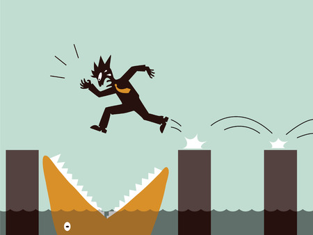 disorganized: Business in danger concept, representing with businessman not aware of jumping in openning big fish or monsters mouth.  Illustration