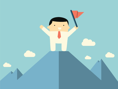 gaol: Cute character businessman standing on the top of mountain with flag, representing to reaching to the goal and be successful.