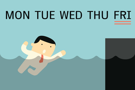 monday: Businessman swimming in the water inspire to reach the river bank, metaphor to business people working hard through weekdays from Monday until the end onl Friday.  Illustration