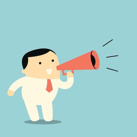 making an announcement: Cute character businessman with megaphone, business concept in making announcement. Illustration