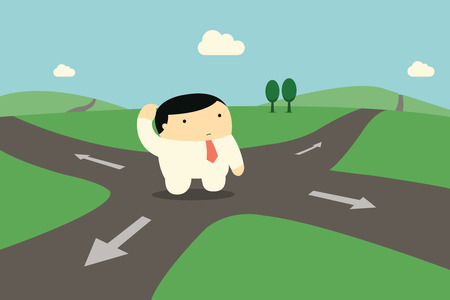 Cute character businessman standing alone at intersection, being confused and making decision to choose right way to go.  Vector