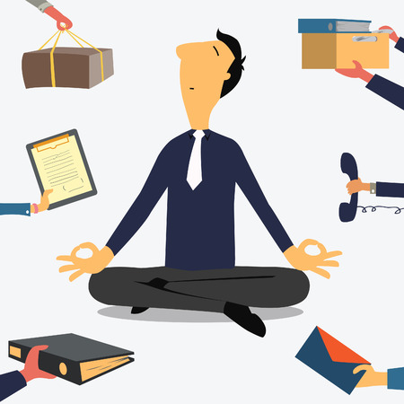 Businessman doing Yoga to calm down the stressful emotion from multitasking and very busy working