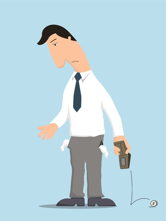 Unhappy businessman showing empty pocket inside out with no money in wallet, standing lonely in despair