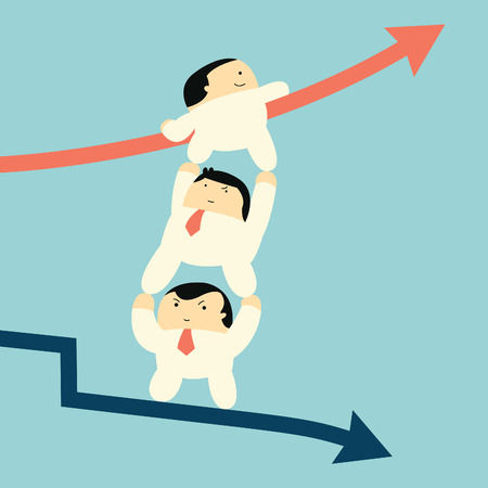 supporting: Cut character businessman supporting each other to climbing up to raising arrow from falling down business, metaphor to team work helping from crisis to successful business    Illustration