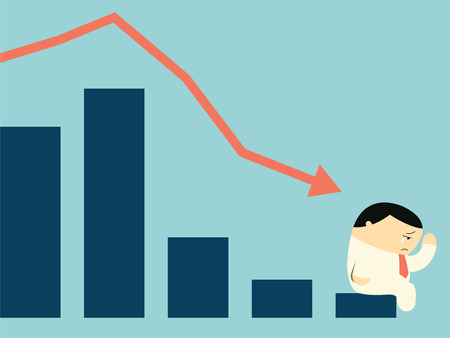 broke: Sad businessman crying with falling down arrow and statistics bar in depression financial concept