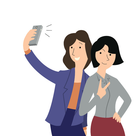 friends cartoon: Woman selfie herself with girlfriend with smartphone   Illustration