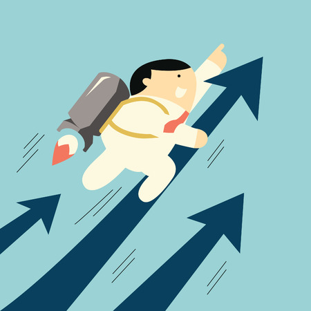 moving up: Cute businessman flying with rocket moving up fast with arrow, business concept in growth business