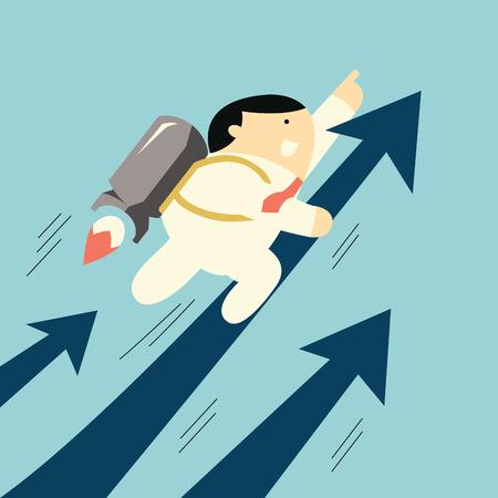 cohetes: Hombre de negocios lindo volar con el cohete en movimiento rápido con la flecha, concepto de negocio en el crecimiento del negocio