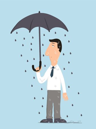 misfortune: Unlucky businessman being wet from raining instead he holding umbrella, misfortune or in trouble concept