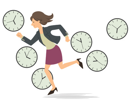 Businesswoman running passing through the clock which telling time every period in a whole day, representing to woman being very busy from the morning  until finish working in the evening