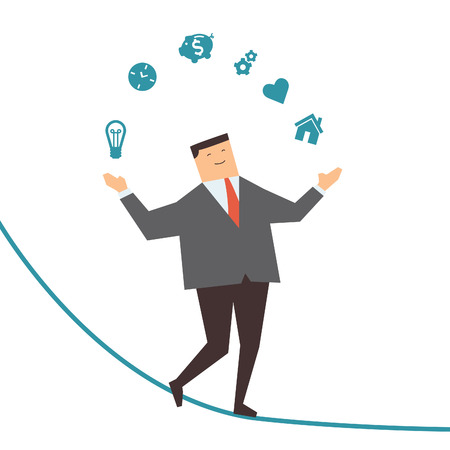 Happy and smiling businessman walking and keep himself balance on rope, juggling business icons  Business concept in management and stay balance in idea, working, love, time, saving money, and home     Çizim