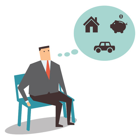 Businessman sitting on the bench, thinking and dreaming of having house, car, and saving money   Vector