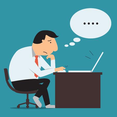 persona triste: Hombre de negocios sentado y utilizando equipo port�til, pensando seriamente en su oficina Usted puede escribir su propio dise�o o texto en la burbuja del discurso