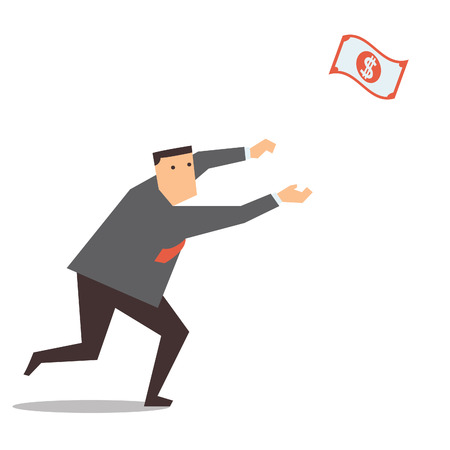 Businessman running and chasing money that representing with dollar banknote flying in the air, making money concept   Vector