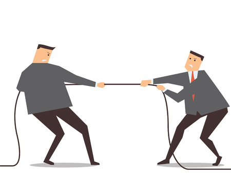 Businessman pulling rope, tuge of war, in business competitive concept.