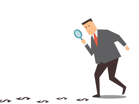 Businessman walking with magnifying glass, looking for money track on the ground.  Illustration
