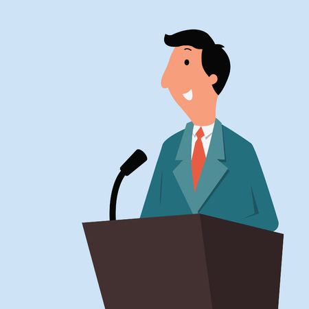 Happy businessman wearing suit, standing at a podium with microphone, giving speech or lecture. Vector