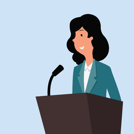 Happy businesswoman standing at a podium with microphone, giving speech or lecture. Vector