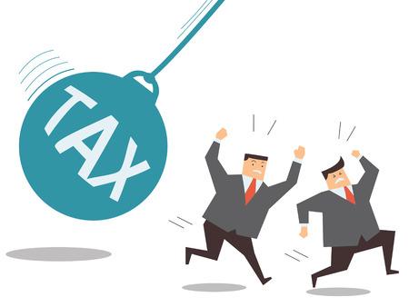 financial burden: Businessman running away from huge pendulum with message tax, financial crisis in tax burden concept.