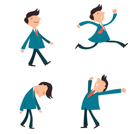 Set of character businessman, suit man, or office workers pose in various emotion, yawning, happy, walking, running in a hurry, and in sad feeling.   Vector