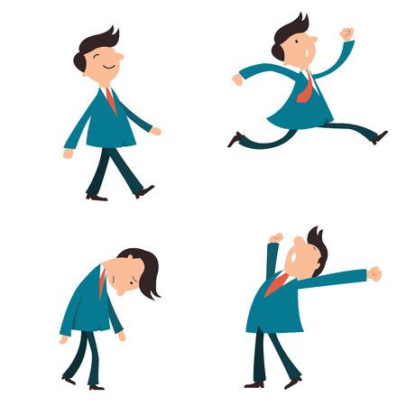 Set van karakter zakenman, pak man, of kantoormedewerkers poseren in verschillende emotie, gapen, gelukkig, wandelen, hardlopen in een haast, en in triest gevoel.