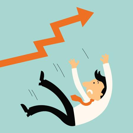 El hombre de negocios que caen del aumento de la flecha de forma inesperada, concepto de negocio en un fracaso inesperado.