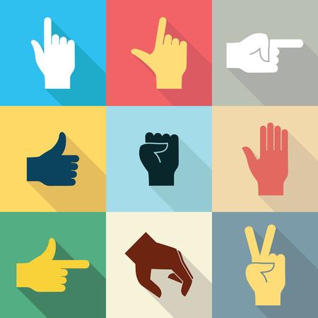 Icono del diseño Flat conjunto de manos en muchos y diferentes movimientos con la sombra larga serie 2. Ilustración vectorial.
