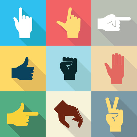 L'insieme dell'icona di progettazione piana delle mani in molti e gesto differente con ombra lunga ha messo 2. Illustrazione di vettore.
