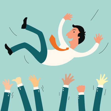 Successful businessman being thowing up by his teamwork or colleague  Feeling and emotion concept in success and team work   Vectores