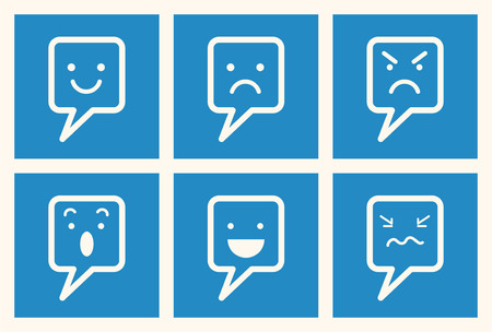 design bad: Set of emotional expression speech bubble icon, happy, smiley, angry, surprise, cry, sad, bad mood, speaking, and upset  Communication concept