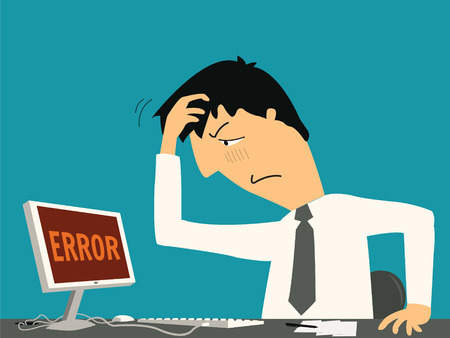 混乱のビジネスマンおよびコンピューター上のエラー メッセージと機嫌が悪いされています。