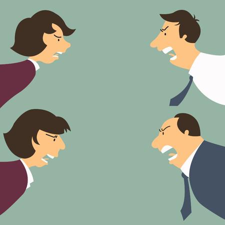 jefe enojado: Enojado y frustrado hombre de negocios y la mujer, tanto menor y mayor sensación de la persona y de la emoción concepto