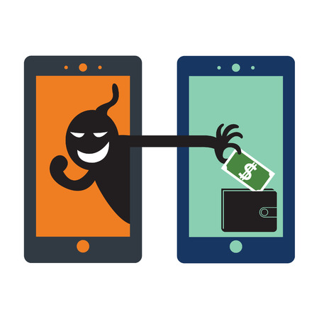 computer crime: Social network thief stealing money by reaching his hand picking up dollar banknote from wallet on screen of smart phone