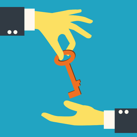 recieving: Businessman hand giving key to each other  Business concept in giving solution or important method