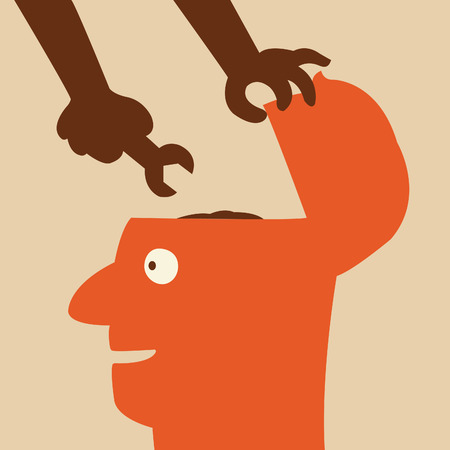 Hand holdig wrench to fix the brain in human head  Abstract background on fixing or changing, or make better way of thinking