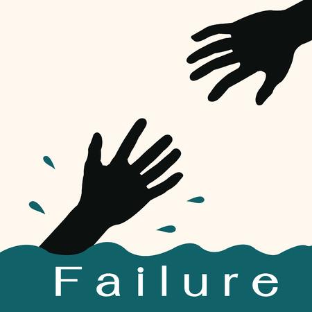 ahogarse: Silueta de la mano unos a otros de ahogarse en el agua con el fracaso de mensajes Puede cambiar su propio texto