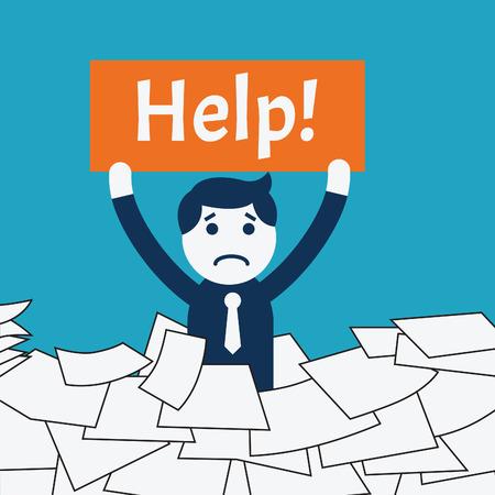 aide à la personne: Affaires de caractère mignon debout au milieu de la pile de papier, montrant bannière avec le message