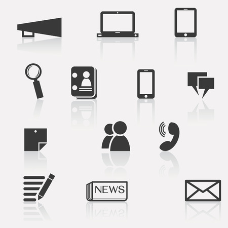 news paper: Set of communication icon; megaphone, computer laptop, smartphone, tablet, news, people, data, information, magnifying glass, speech bubble, calling, and note paper   Illustration