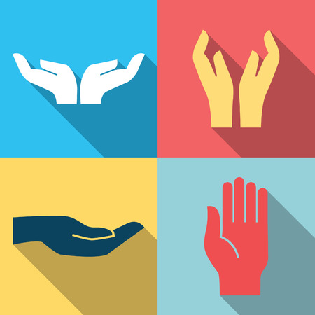 kindness: Flat design icon set of hands in many and different gesture  Vector illustration   Illustration