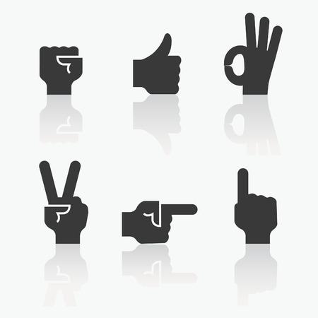 Set di icona della mano, concetto di comunicazione
