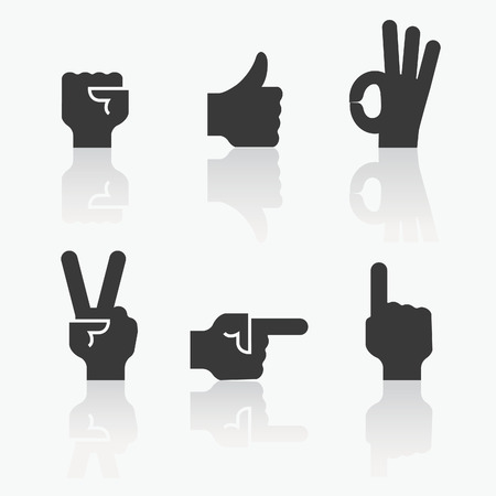 fist up: Set of hand icon, communication concept