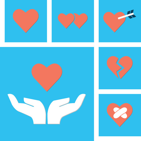 mending: Holding hands with heart shape icon in love concept  Each layer easy to remove or change color for your design