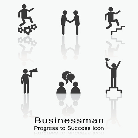 annoucement: Icon set of businessman being progress in success, working, corperation, promotion, annoucement, conversation, and winning